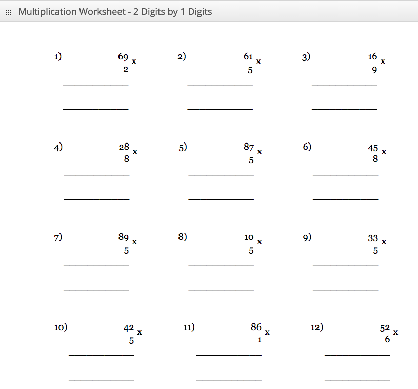 Multiplication Worksheet 2 digit by 1 digit
