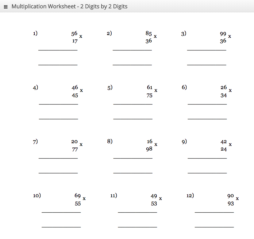 Multiplication Worksheet 2 digit by 2 digit