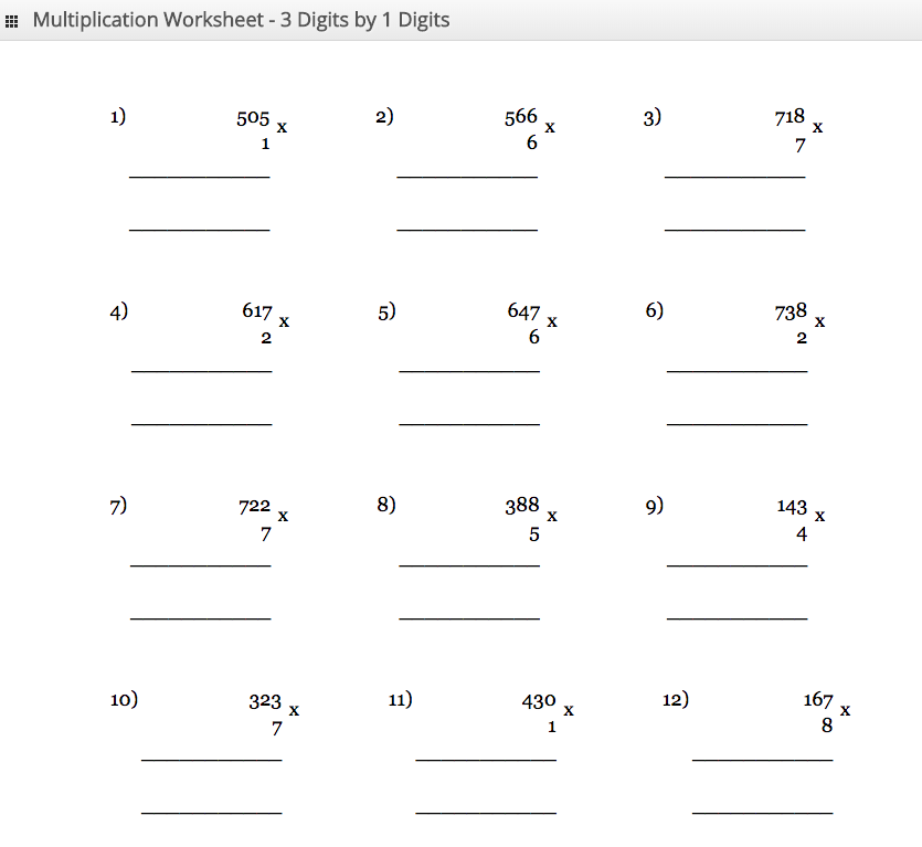 Multiplication Worksheet 3 digit by 1 digit