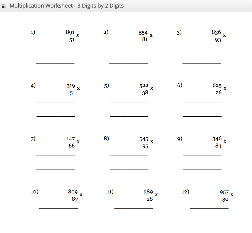 Multiplication Worksheet 3 digit by 2 digit