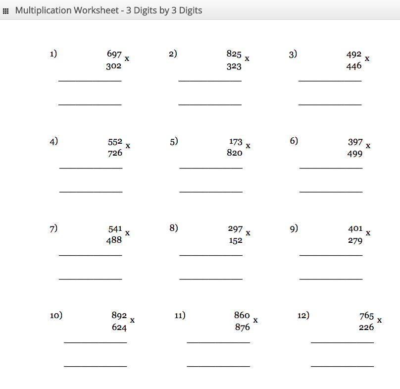 Multiplication Worksheet 3 digit by 3 digit