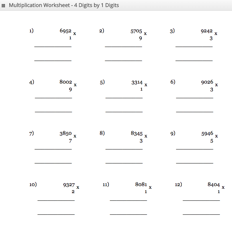 Multiplication Worksheet 4 digit by 1 digit