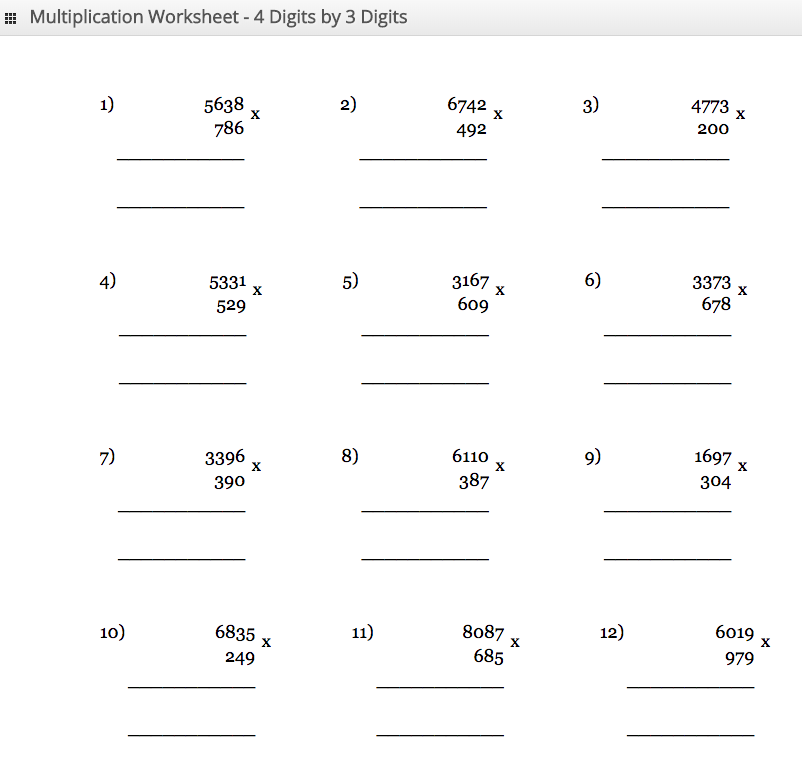 Multiplication Worksheet 4 digit by 3 digit