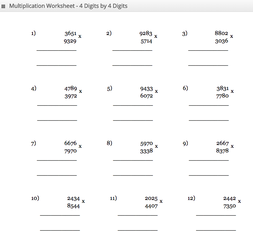 Multiplication Worksheet 4 digit by 4 digit