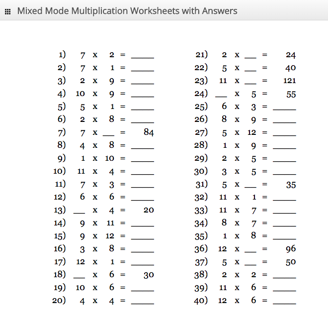 1 to 40 Times Tables