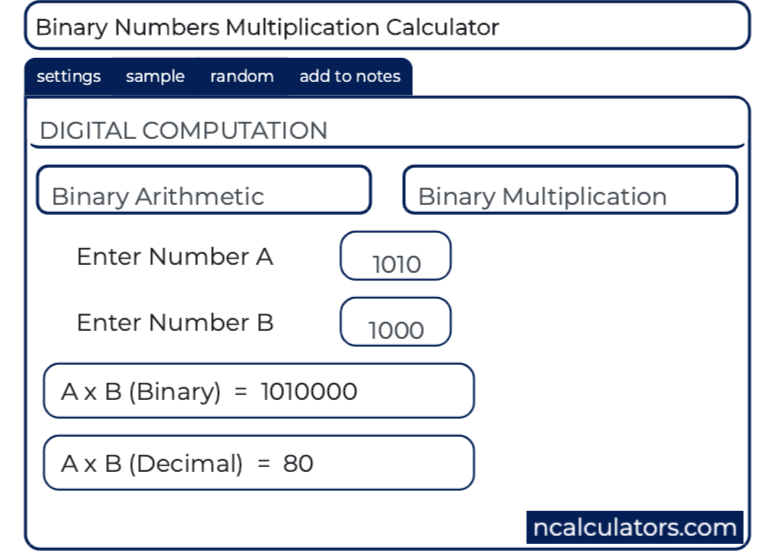 Binary Addition (Adder) Calculator