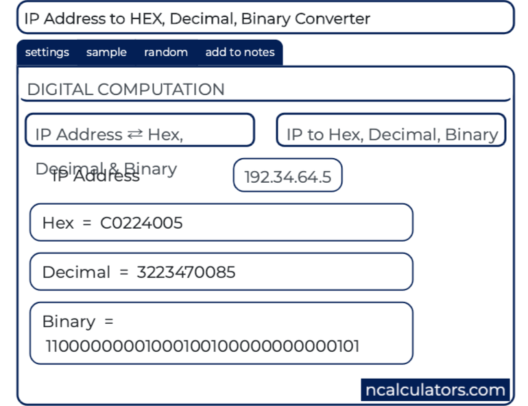 IP Address to HEX, Decimal, Binary Converter