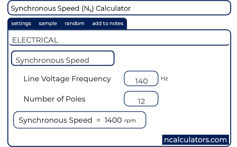 Synchronous Speed (N s ) Calculator