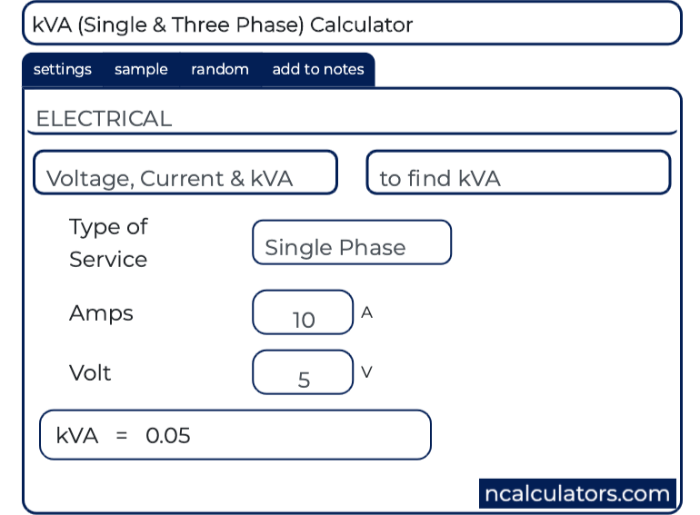 Kva Single And Three Phase Calculator