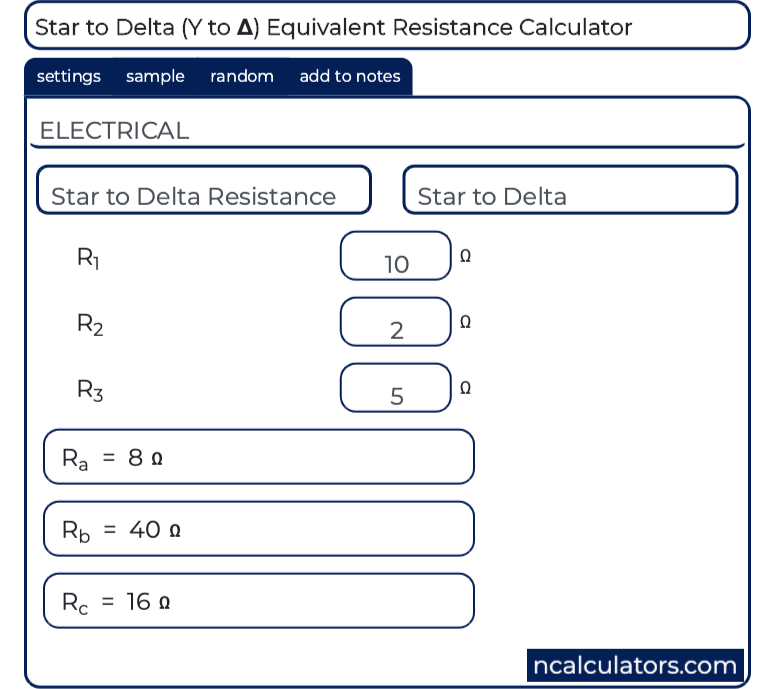 Star to Delta (Y to Δ) Equivalent Resistance Calculator