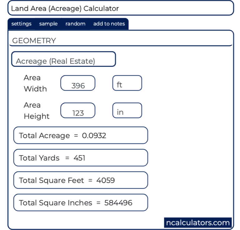 Acreage (Land Area) Calculator
