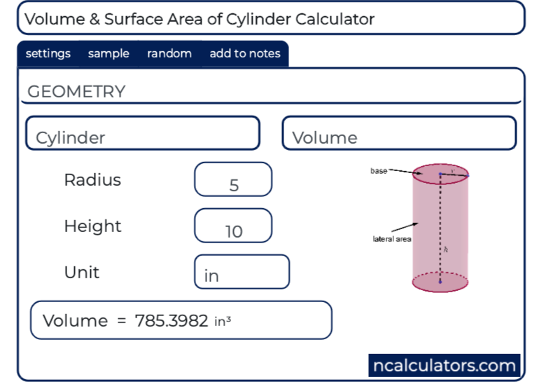 Volume & Surface Area of Cylinder Calculator
