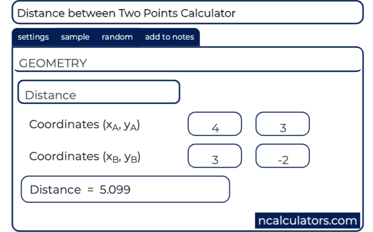 Distance between Two Points Calculator