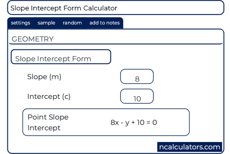 slope intercept form to general form calculator  Slope Intercept Form Calculator