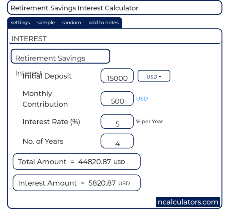 Retirement Savings Interest Calculator
