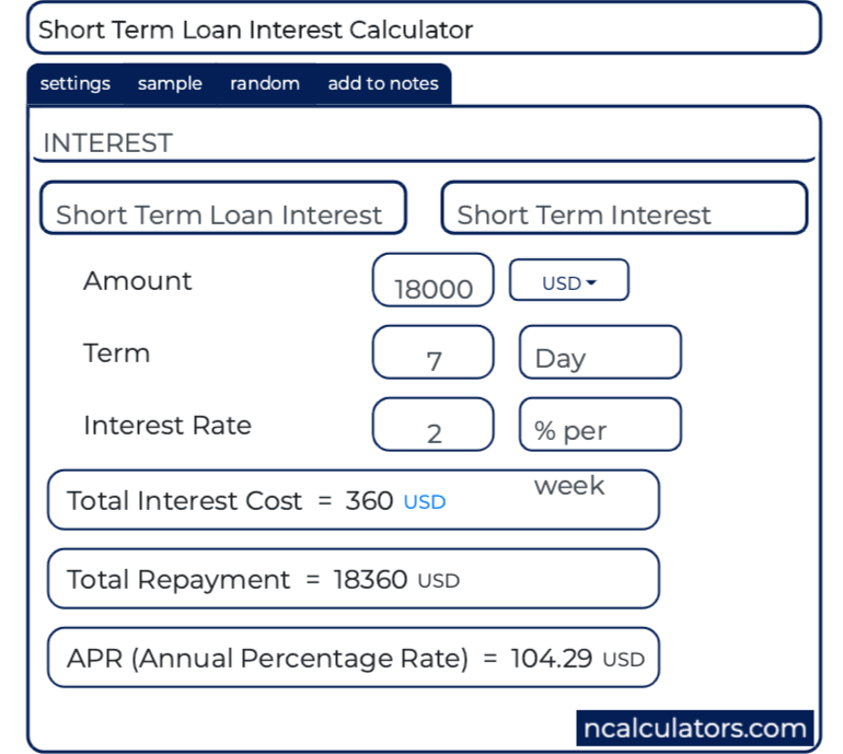 Short Term Loan Interest Calculator