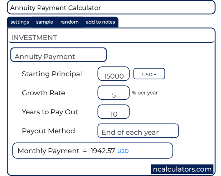 Annuity Payment Calculator