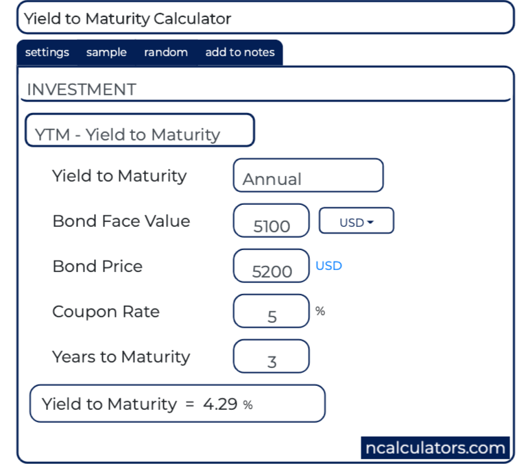 Yield To Maturity Ytm Calculator
