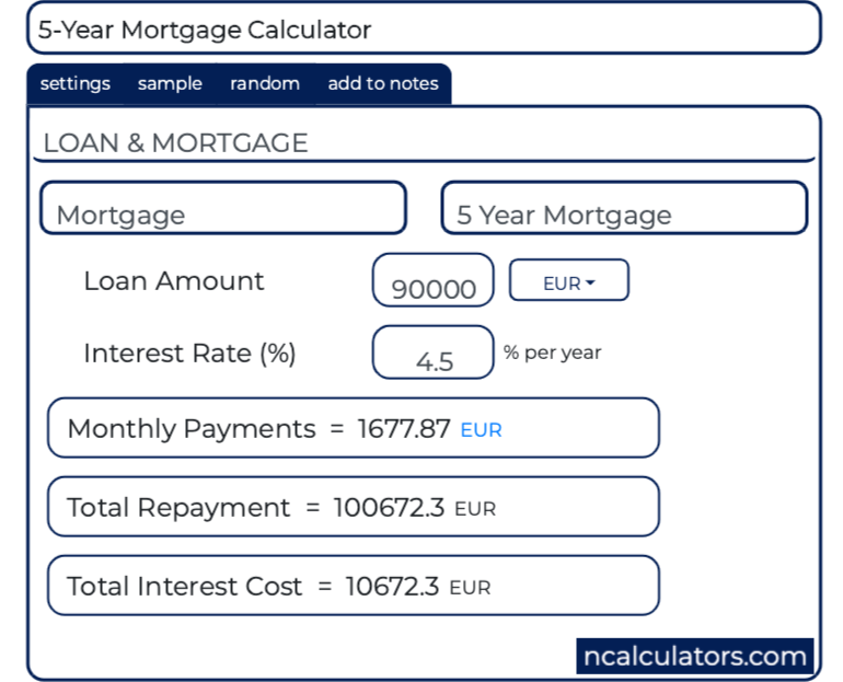 5year mortgage calculator