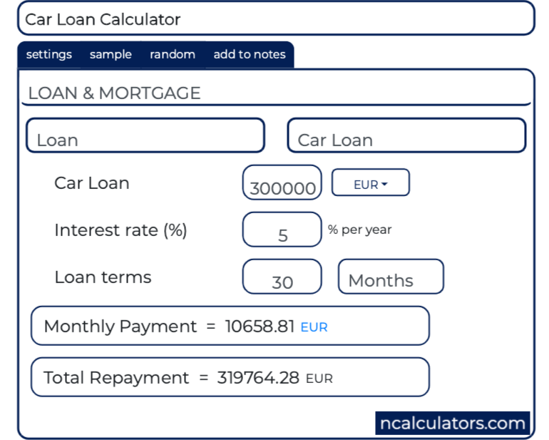 Monthly Payment Calculator >> Car Loan Calculator