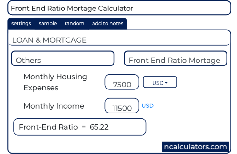 front end ratio mortage calculator