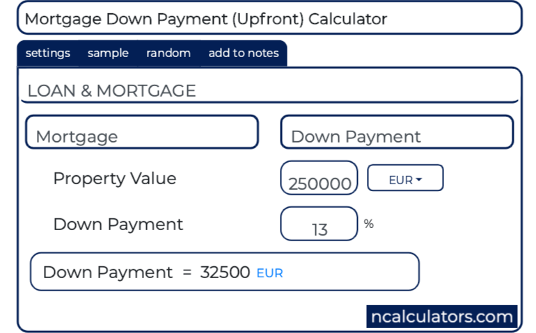 Down Payment Calculator >> Mortgage Down Payment Calculator