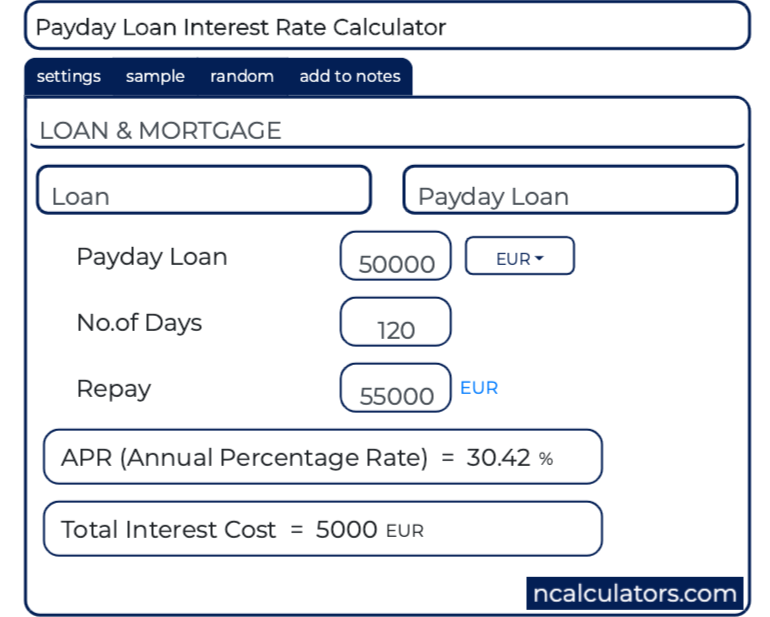 payday loan calculator