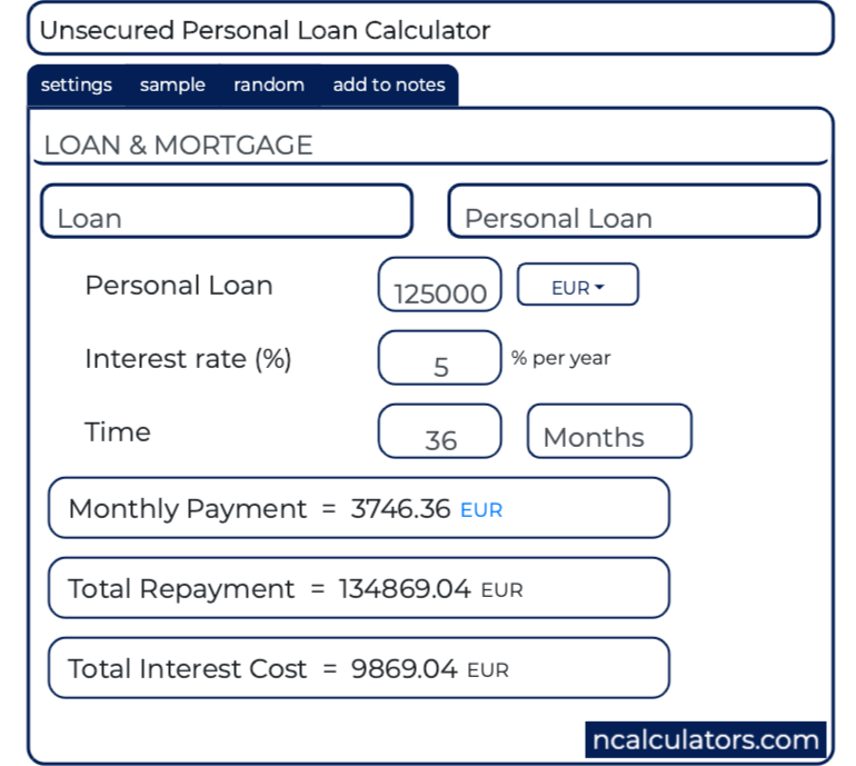 loan calculator mortgage personal monthly bi bimonthly unsecured ncalculators