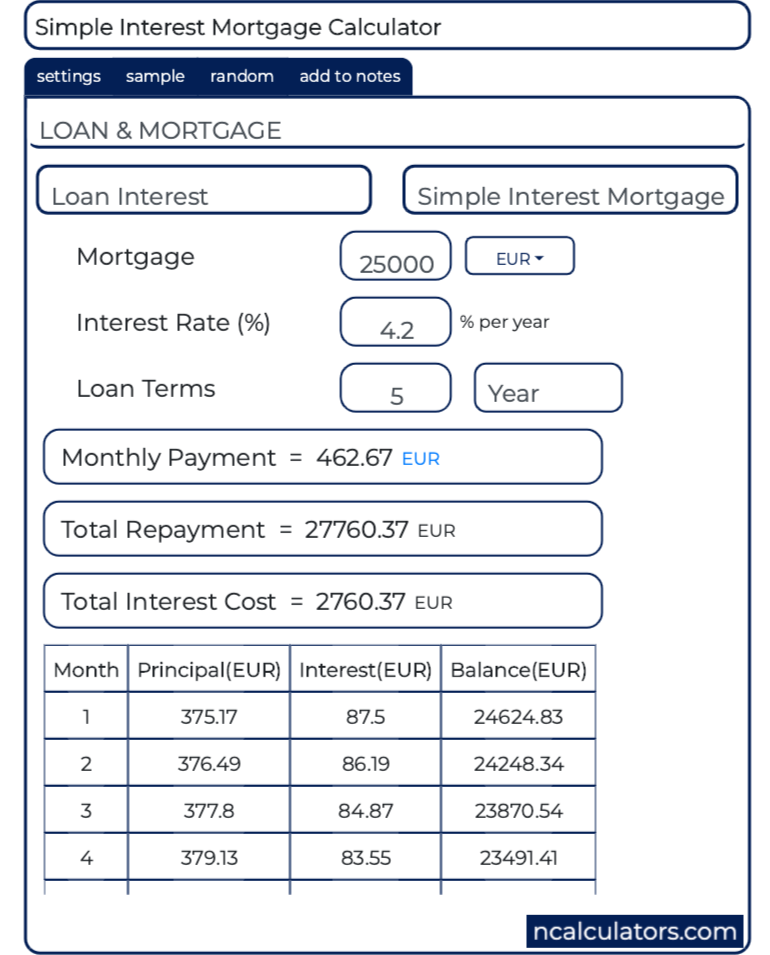 simple interest mortgage calculator