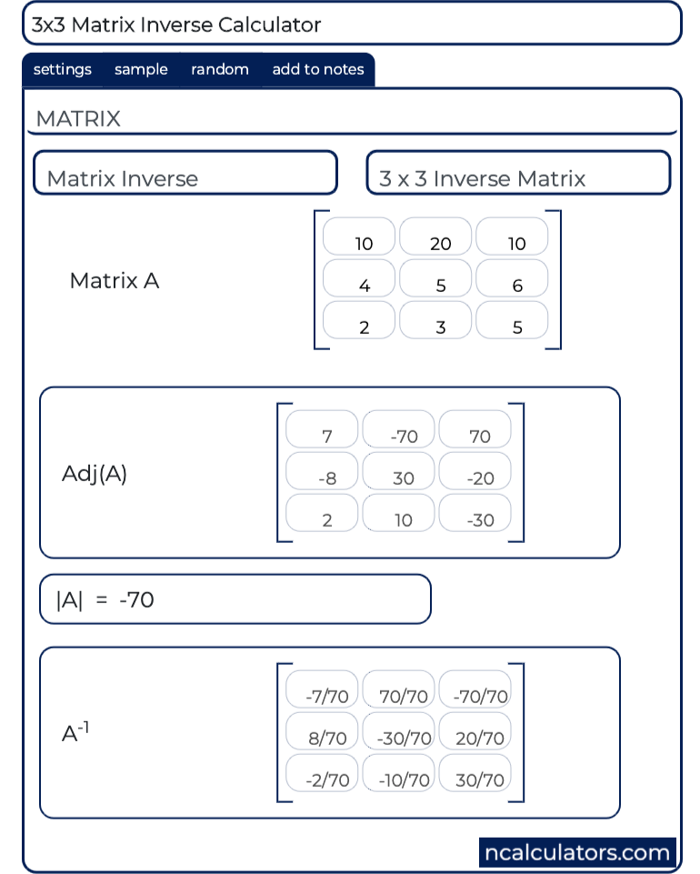 nxn Inverse Matrix Calculator