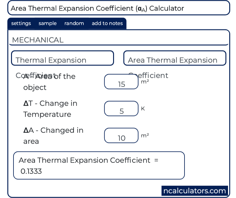 area thermal expansion coefficient calculator