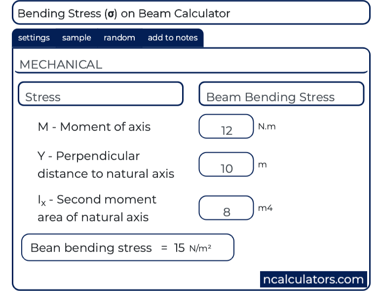 Bending Stress (σ) on Beams Calculator