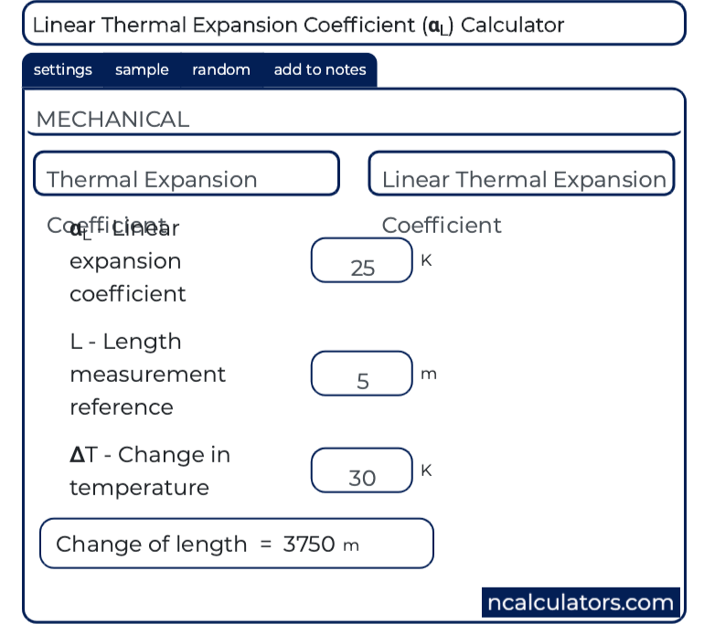 linear thermal expansion coefficient calculator