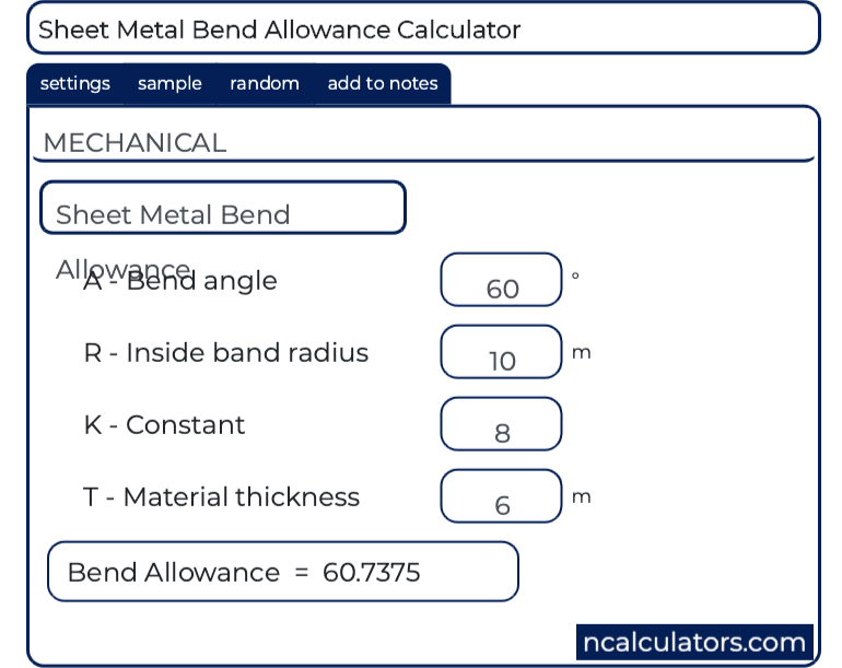Sheet Metal Bend Allowance Calculator