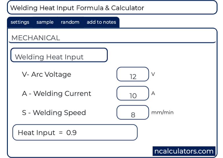 Welding Heat Input Calculator