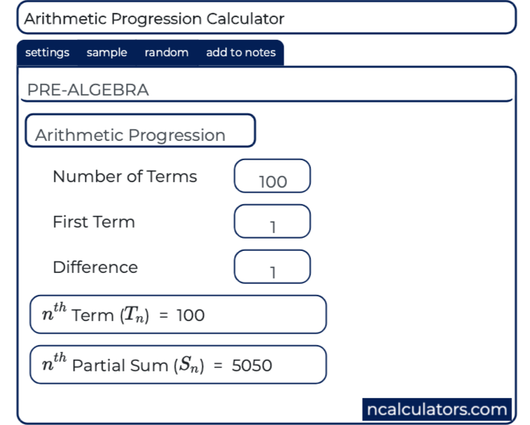 Arithmetic Progression Calculator