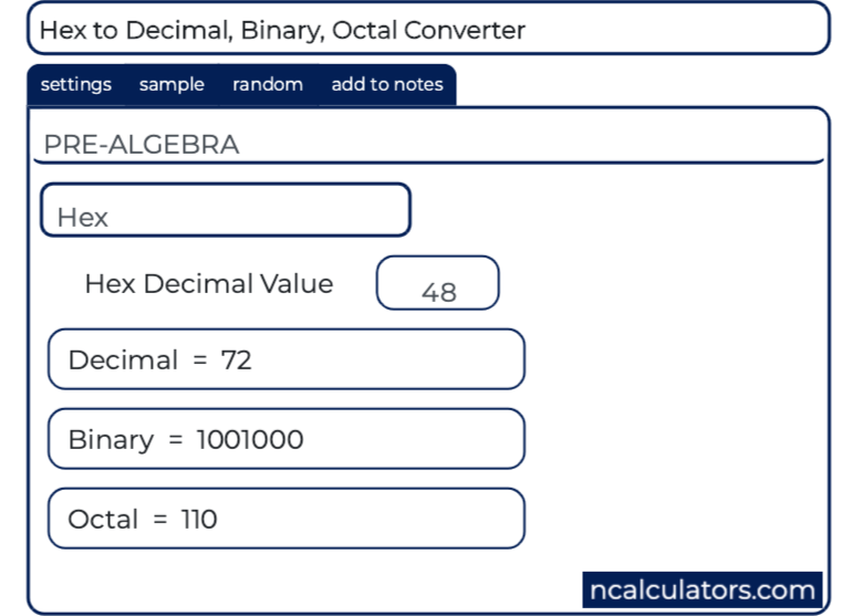Hex to Decimal, Hex to Binary, Hex to Octal Converter | Conversion
