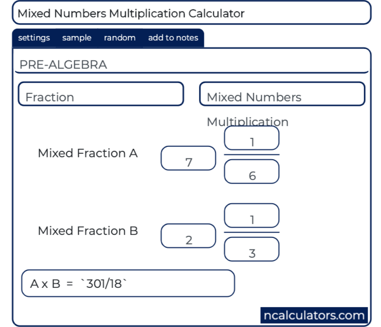 Mixed Numbers Multiplication Calculator