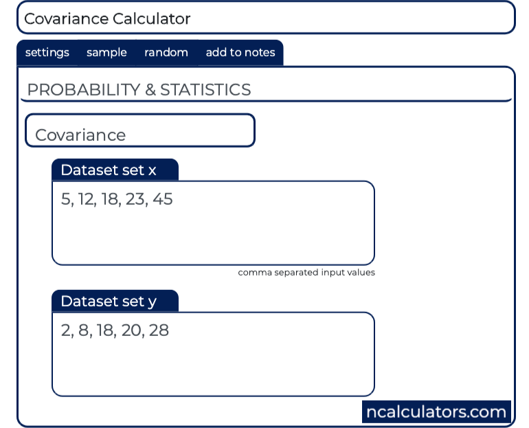 Covariance Calculator