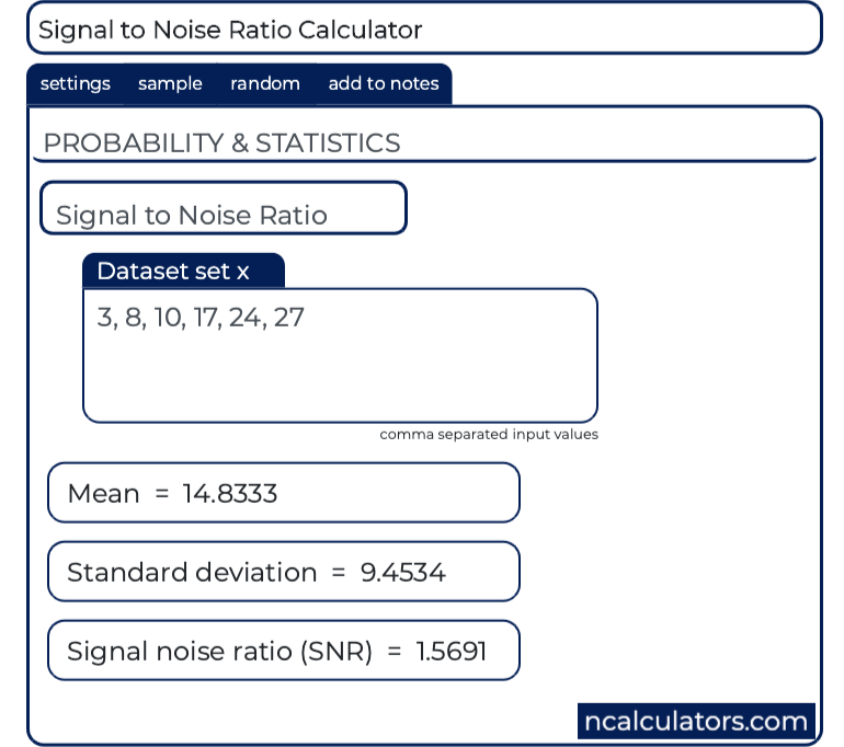 Signal to Noise Ratio (SNR) Calculator