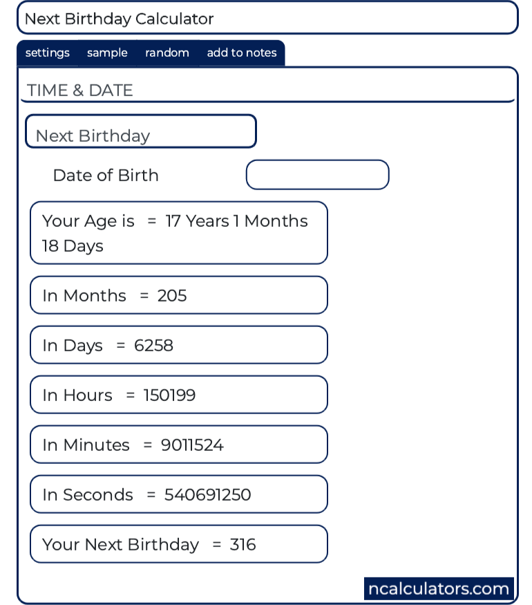Day of Next Birthday Calculator