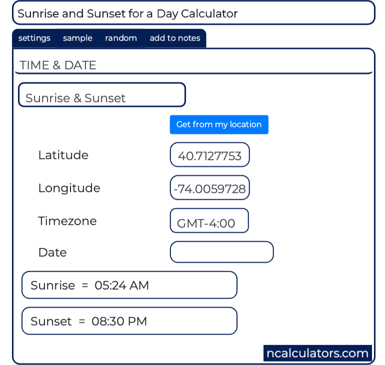 Sunrise and Sunset Time Calculator